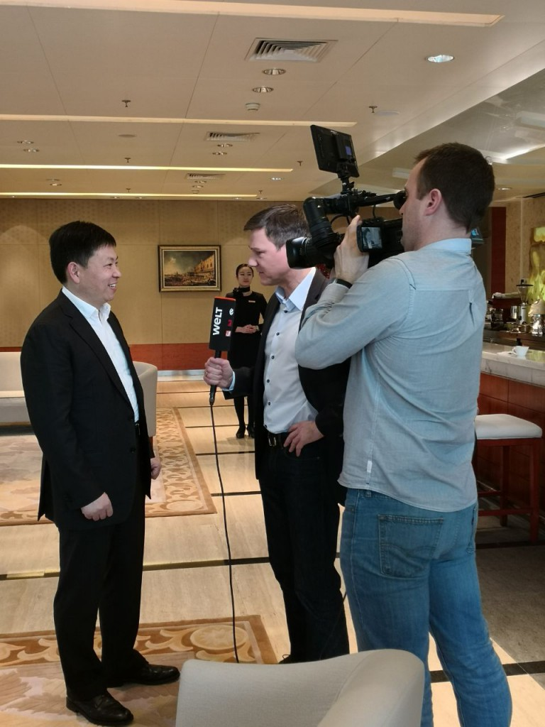Interview als Kameramann für WELT mit Huawei CEO Richard Yu in Shenzhen, China